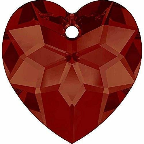6215 Swarovski Pendant Heart | Crystal Red Magma | 18mm - Pack of 1 | Small & Wholesale Packs | Free Delivery Heart Briolette Pendant