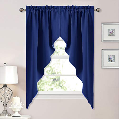 Blackout Rod Pocket Kitchen Tier Curtains- Tailored Scalloped Valance/Swags for Living Room (1 Pair, W36 X L63 Inches Each Panel, Royal Blue)