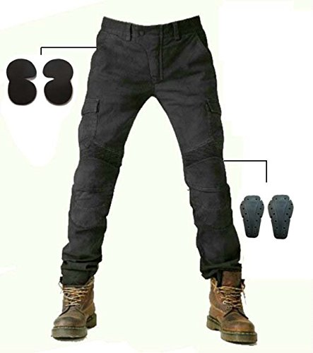 (Alpha Rider MOTORCYCLE JEANS WITH PAD DENIM BIKER BLACK MOTO PANTS COMBAT PANTS Stylish Riding Jeans, windproof, breathable, anti-tearing Size:)