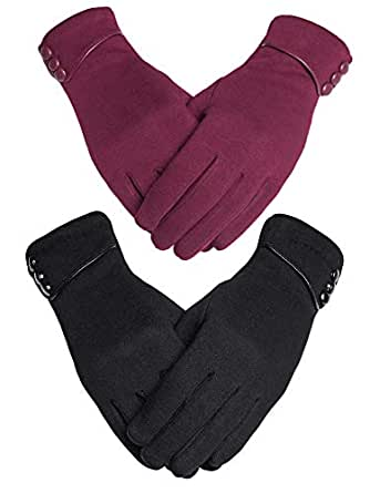 Xieda 2 Pairs Women Winter Gloves Touchscreen Gloves Lined