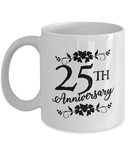 - Zarelake 25th Anniversary Mug 11oz - 25 Years Together Married Couple Gifts - 25 Year Silver Coffee Mugs