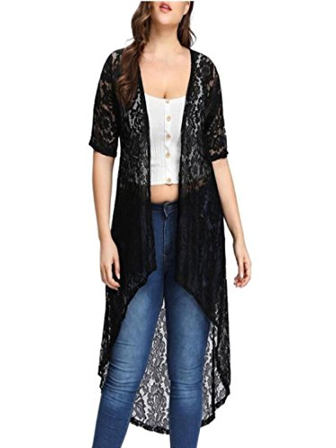 (Plus Size Lace Cardigan for Women Long Loose Shawl Kimono Top Cover Up Beachwear Black)