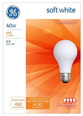 GE Lighting 13257 40-Watt A19, Soft White,