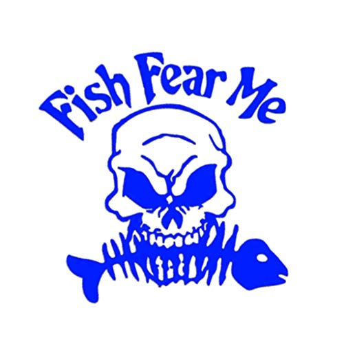 Weite Reflective Fish Fear Me Skull Sticker, Waterproof Vinyl Wall Home Decor Car Window Bumper Decal Stickers Collection (Blue)