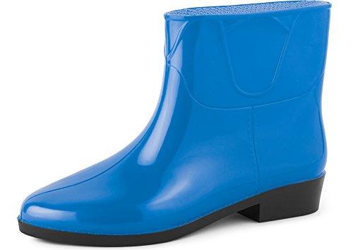 Ladeheid Women's Ankle Rubber Wellington Boots LAZT201801 Blue