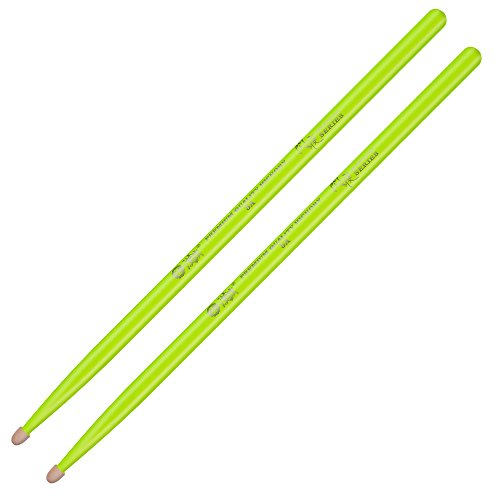 Glow 5A Hickory Drummer Stage Performance Sticks (5A, Yellow)