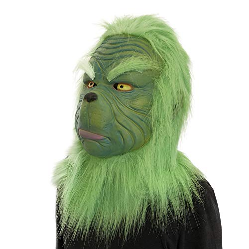 (HKDGID Novelty Cosplay Grinch Mask Melting Face Latex Costume Collectible Prop Scary Mask Toys for Children's Pranks)