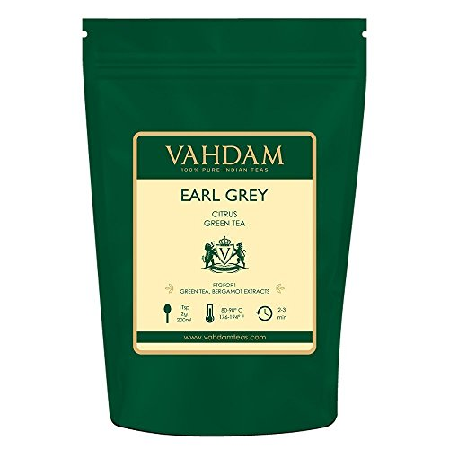 VAHDAM, Earl Grey Green Tea Loose Leaf (100 Cups) | POWERFUL & STRONG ANTI-OXIDANTS | Loose Leaf Earl Grey Tea With Pure Green Tea Leaves | Brew as Hot Tea ()