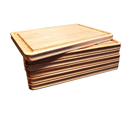 Maple Wood  Cutting Board Edge Grain, Reversible,  with Deep Juice Groove, Carved Inset Handles by Pacific Wood. Handmade In the USA 16 x 12 x 1 Inches