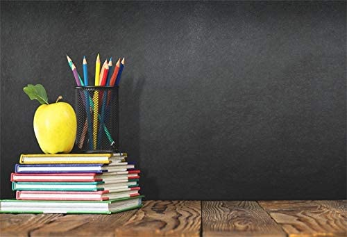 AOFOTO 15x8ft Schoolroom Blackboard Backdrop Apple a Stack of Book Pencils on Desk Background for Photography Kids First Day Students Back to Shcool Photos Poster Banner Photo Studio Props Vinyl