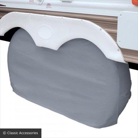 Classic Accessories 1100421 RV Dual Axle Wheel Cover - Snow White