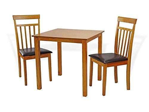 (Dining Kitchen Set of 3 pc Square Table and 2 Classic Wood Chairs Warm in Maple Finish)