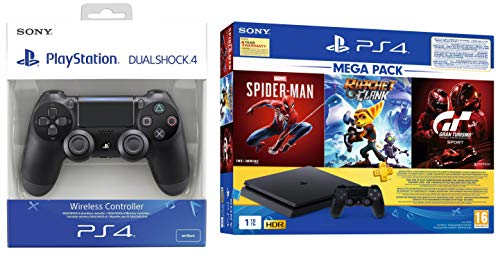 PS4 1TB Slim Bundled with Spider-Man, GTaSport, Ratchet & Clank And PSN 3Month&Dualshock 4 Wireless Controller for…