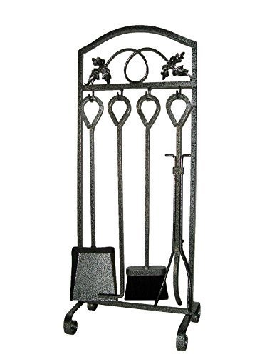 Fireplace 5 Piece Tool Set Kit Stove Hearth Firepit Decorative Fire Wood Log Holder Pit Tools Outdoor Wrought Iron Poker Tongs Toolset Outdoor Pewter Black Accessories Sets by Screen - Wrought Iron Fire Grate