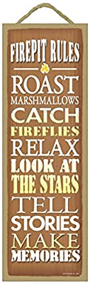 """(SJT02641) Firepit Rules - Roast Marshmallows, Catch Fireflies, Relax, Look at stars, Tells Stories, Make Memories Primitive Wood Plaque - measures 5"""" x 15"""""""