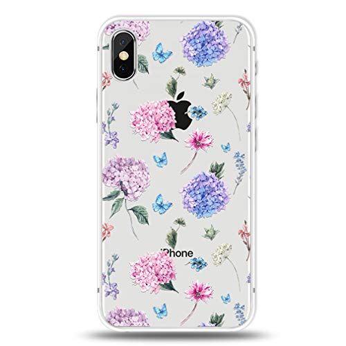 Phone Case for iPhone Xs/iPhone X Floral Hydrangea Pattern -Shock Absorbing Technology Bumper Soft TPU Clear Cover for Apple iPhone Xs/iPhone X Cell Case