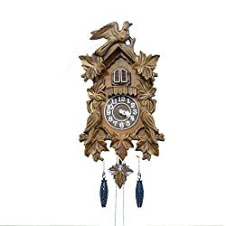 BANDA Wooden Cuckoo Clock and Pendulum, Quartz Movement, Cuckoos Every Hour, Manual Volume Control