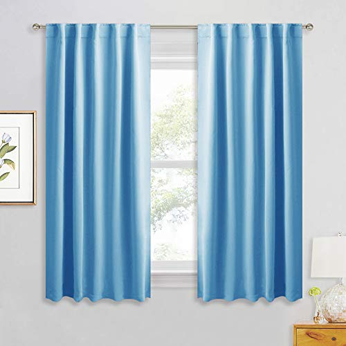RYB HOME Living Room Darkening Curtain Panels with 2 Hanging Types, Kids Bedroom Curtains for Decor/Light Shade, Window Curtain Daperies for Bath/Doorway, 42 x 54, Sky Blue, 2 Pieces (Curtain Wall Sky Blue For Color)
