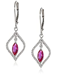 10k White Gold Earrings with Created Gemstone and Diamonds