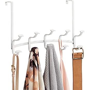 mDesign Decorative Metal Over Door 10 Hook Storage Organizer Rack - for Coats, Hoodies, Hats, Scarves, Purses, Leashes, Bath Towels, Robes, Mens and ...