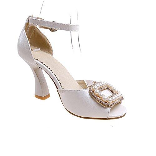 Adee Ladies Peep-Toe Unique Platform Soft Material Sandals White 0oWZQ2Q