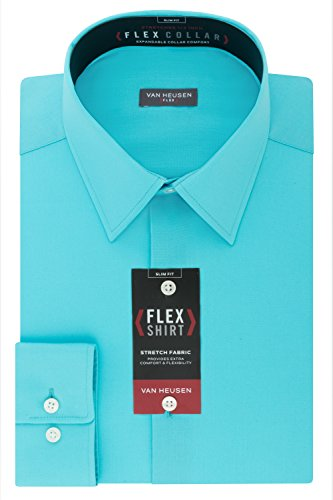 Van Heusen Men's Flex Collar Slim Fit Stretch Dress Shirt, Lagoon, 16.5
