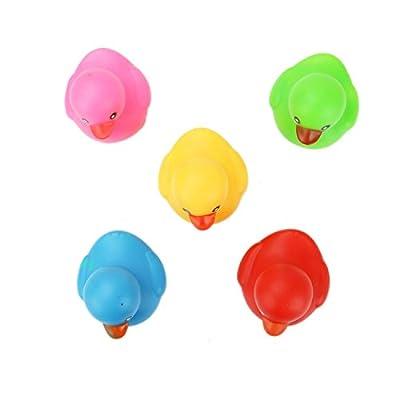 HUELE 10Pcs Squeak Rubber Duck Toys for Kids Shower: Toys & Games