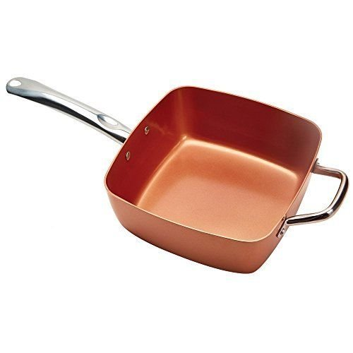 5 piece copper chef nonstick square induction pan with for Buy kitchen cookware