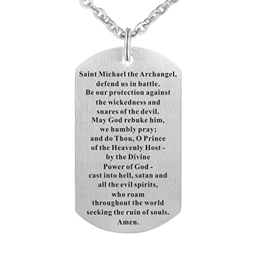 - Saint Michael Archangel Prayer Medal Necklace Stainless Steel Bible Verse Prayer Dog Tag Necklace