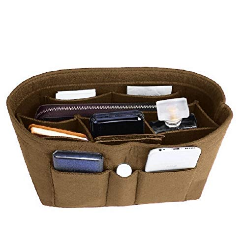 (Felt Insert Bag Organizer Bag In Bag For Handbag Purse Organizer, Six Color Three Size Medium Large X-Large (Large, Light Coffee) )