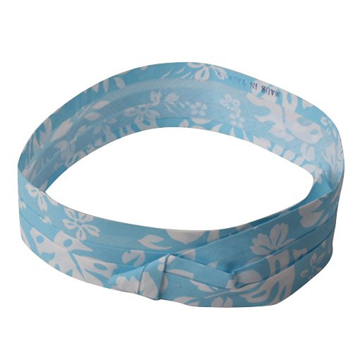 Blue Hawaiian Classic Fabric (Pleated Fabric Print Hat Band - R Hawaiian Flower Light Blue)
