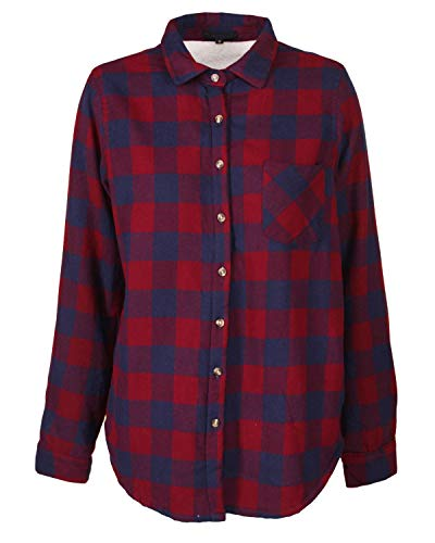 - Sidecca Women's Plaid Cozy Sherpa Lined Long Sleeve Flannel Button Down Shirt (M, Burgundy)
