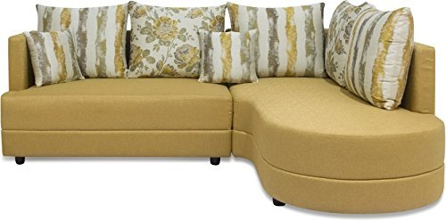 Three+ Mustard Sal Wood 5 Seater L-Shaped Sofa Set for Living Room