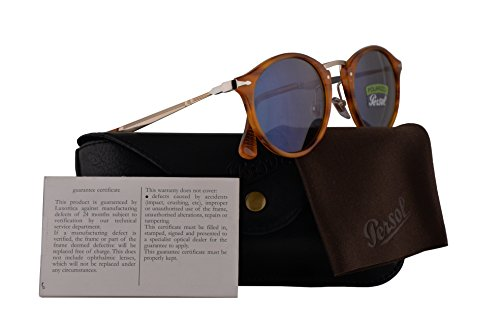 Persol PO3166S Calligrapher Edition Sunglasses Striped Brown w/Polarized Blue Lens 49mm 96056 PO 3166-S PO3166-S PO - Persol Sunglasses Handmade