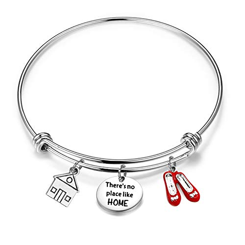 FUSTMW Sweet Home Bracelet Wizard of Oz Inspired Bracelet There is No Place Like Home Red Enamel Shoes Charm (Silver) (Sweet Wizard)
