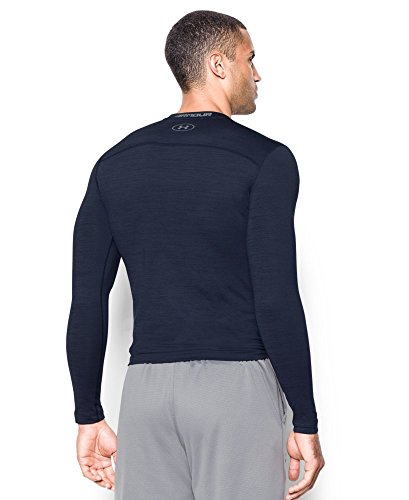 Under Armour Men's ColdGear Armour Twist Compression Crew, Midnight Navy/Steel, Small by Under Armour (Image #1)