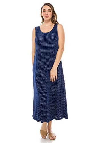 Jostar Women's Stretchy Long Tank Dress Print Medium Navy Dots