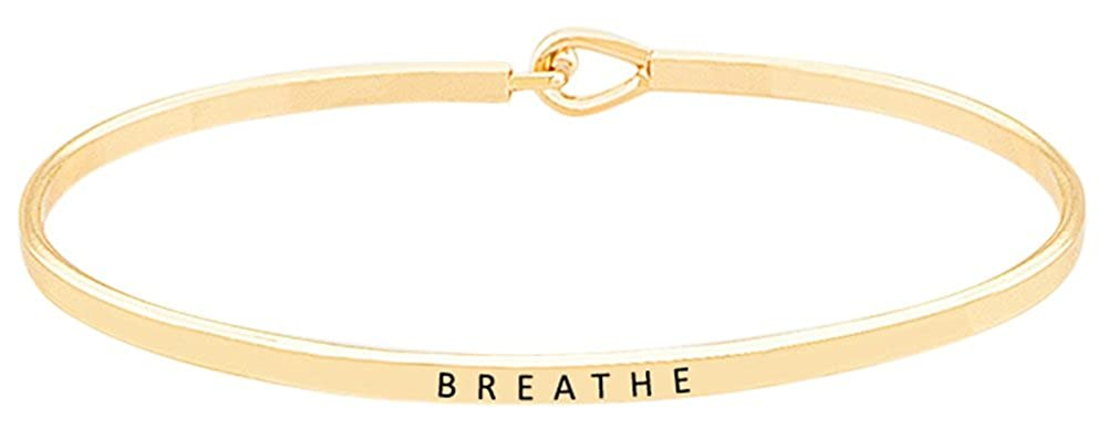 ''BREATHE'' Inspirational Quote Mantra Phrase Engraved Thin Bangle Hook Bracelet - Positive Message Jewelry Gifts for Women & Teen Girls GGG BOUTIQUE BRAC-1