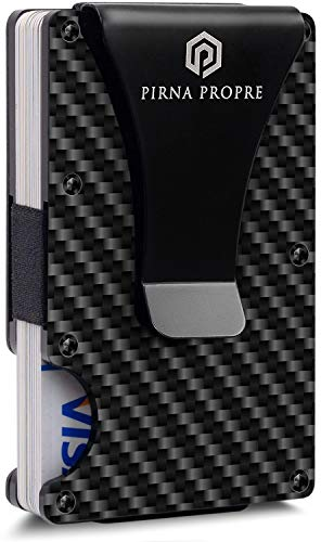 Minimalist Carbon Fiber Wallet with Metal Money Clip - Slim Card Holder Wallets for Men - RFID Blocking Wallet by Pirna (Best Money Clip Wallet)