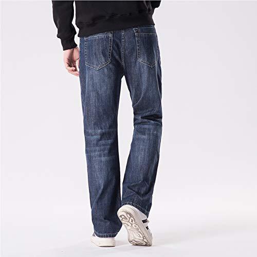 Bleu Taille Hommes Foncé Pour Lâche Blue Slim Large Droite Jeans wqTBXfn