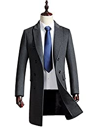 Eorish Men's French Coat Double Breasted Wool Blend Slim Fit Long Business Pea Coat