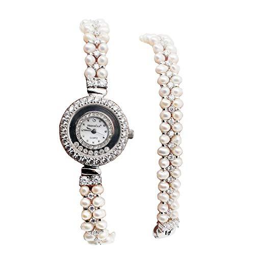 Women Pearl Wristwatch Quartz Watch Dial Stainless Steel Double Links Bracelets Fashion Wrist Watch
