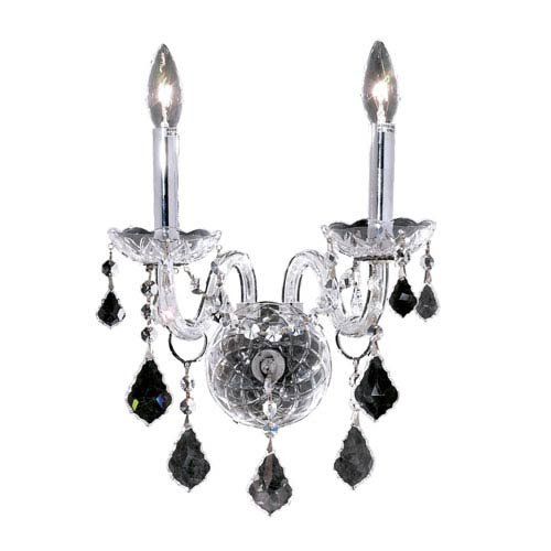 Elegant Lighting 7831W2C//RC Royal Cut Clear Crystal Alexandria 2-Light Crystal Wall Sconce Finished In Chrome with Clear Crystals