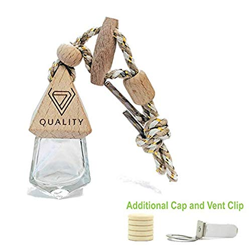Clear Glass Diffuser - V-Quality 7ml Refillable Car Aromatherapy Essential Oil Diffuser Car Air Freshener - Clear Glass Bottle With Wooden Caps - Vent Clip - And Hanging String (Smart 2-In-1 Design)