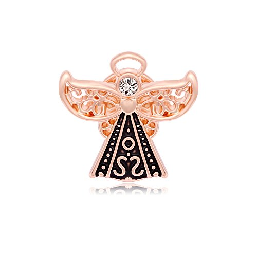 Gold Angel Lapel Pin - SENFAI Guardian Angel Wings Crystal Small Heart Brooch Pin 3 Tone (Rose Gold)