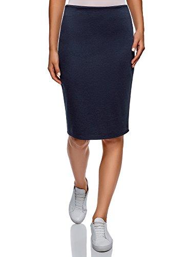 oodji Collection Femme Jupe en Maille avec Fente Bleu (7900n)