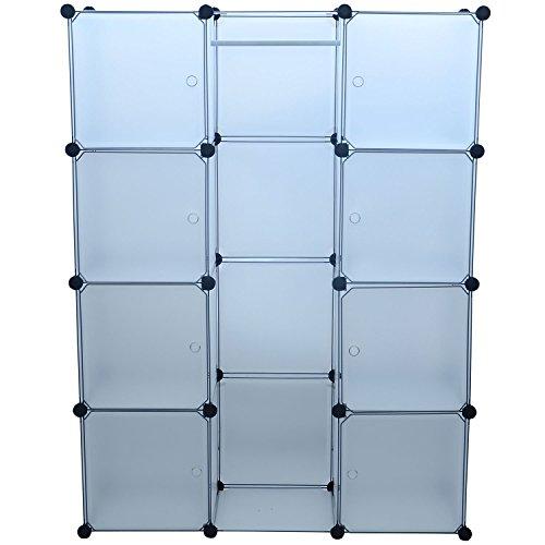 HomCom Modular Portable Storage / Clothes Closet w/ 8 Enclosed Cubes