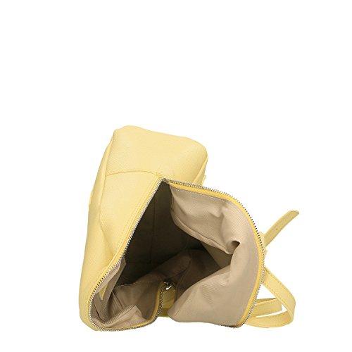 Chicca Borse Bolsa Mochila en Piel genuina 24x25x13 Cm amarillo