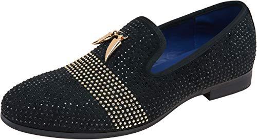 JOUSEN Men's Loafers Velvet Smoking Slipper Gold Butterfly Buckle Slip On Men Wedding Dress Shoes (Gold Butterfly-a,11)