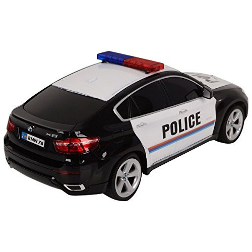 - 41Kz 2Bjkx7FL - 1/14 BMW X6 Licensed Electric Radio Remote Control RC Police Car w/Lights Gift – Extreme Detailed Interior / Exterior – Full Function For Forward, Reverse, Left & Right – Glossy Exterior Paint (Black)